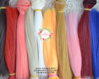 7 Colors Straight Doll Hair Weft for 1/3 1/4 BJD Neo Blythe Monster High OOAK Wig making supplies Reroot blonde pink 15x100cm Pullip Yellow