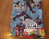 "Marvel's Captain America Comic Two sided Baby Blanket 100% cotton 42.5"" X 36"""