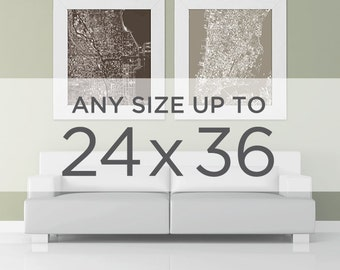 "24x36"" Cityscape Map Poster: Choose your City"