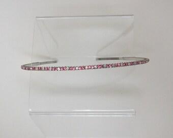 SALE Narrow Pink and Aurora Borealis Crystal Hair band, thin, tiara