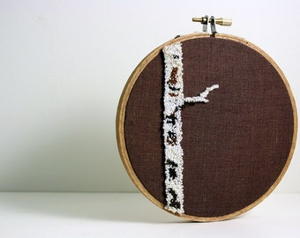 Birch Tree Punch Needle Embroidery Hoop Art. Eco Friendly Home Fiber Art. White, Cream, Brown, Natural Colors. Ready to Ship
