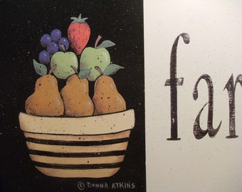 Farmhouse Style, a country cottage style folk art FRUIT Still Life print by Donna Atkins . vintage meets modern