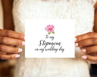To my Stepmom on my wedding day, Stepmom Card, Stepmom, Wedding day card