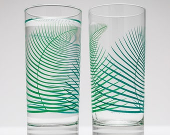 Summer Green Fern Glassware - Highball Glasses - Fern Glasses - Fern Glassware - Fern Wedding Glasses - Green Fern Glass