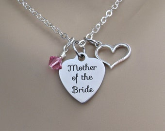 Mother of the Bride Stainless Steel Laser Engraved Heart Necklace With Silver Heart Charm and Swarovski  Crystal