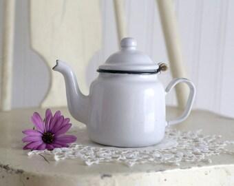 Vintage Small Enamel Teapot, Individual Enamel Teapot, White Enamel Tea Pot, Tiny Small Teapot, Retro, Farmhouse