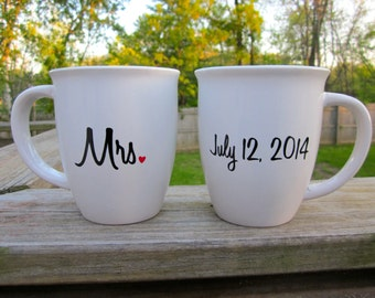 Mr. and Mrs. Coffee Mug Set with Date on the Back