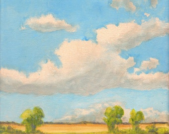 Bright Sunny Day - Original Landscape Painting on canvas 8x8 Clouds and Sky Summer Farmland Oak Trees