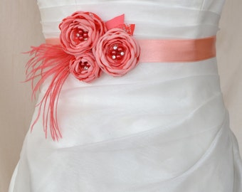 Bridal belt, Coral Bridal sash, Floral Bridal Belt, sash belt, Peach bridal belt, Flower wedding sash, Flower wedding dress belt