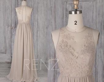 Bridesmaid Dress Cream Chiffon Dress,Wedding Dress,Lace Illusion Round Neck Maxi Dress,Sleeveless Key Hole Back A-Line Prom Dress(L481)