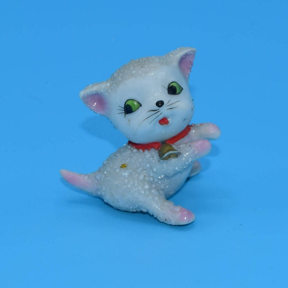 Miniature Sugar Coated Kitty Figurine Vintage Sugar Textured Cat Figurine Green Eyed Kitty Cat Lover Gift Cat Kitten Figurine Gift for Her