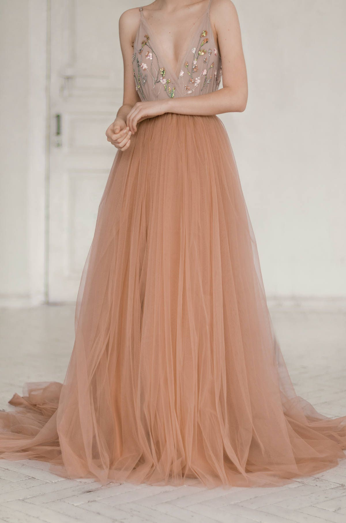 Tulle wedding dress / hand embroidered wedding gown