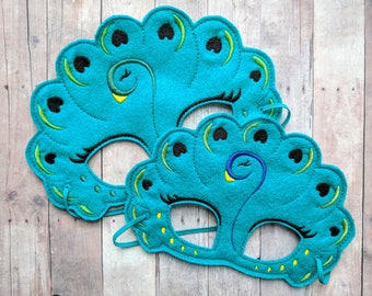 Peacock Felt Mask in 2 Sizes, Elastic Back, Teal Acrylic Felt with Colorful Embroidery, Peacock Costume, Photo Booth Prop, Bird Mask