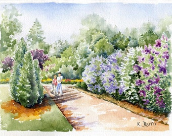 Lilacs Watercolor Painting ~ Watercolor Print ~ Digital download print of a botanical garden landscape done in watercolors