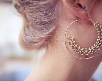 Brass hoops, Tribal Earrings, Ethnic Earrings, Spiral hoops