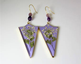 Queen Anne's Lace on Lavender, Long  Real Flower Earrings,  Real Swarovski Crystal Elements, Pressed Flower Jewelry , Resin (3038)