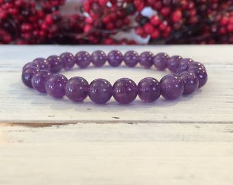 8mm A Grade Amethyst Bracelet, Stacking Bracelet, February Birthstone, Wrist Mala For Overcoming Fear, Addiction, Heightens Spirituality