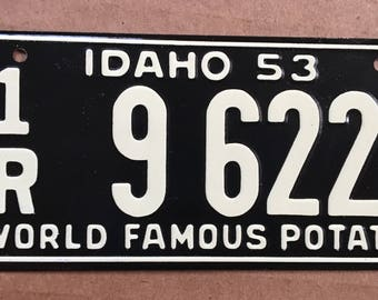 1953 Wheaties Collectible Children's Bicycle License Plate Idaho World Famous Potatoes General Mills