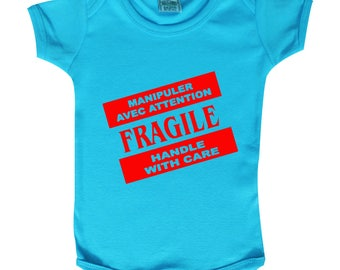 "Bodysuit baby ""fragile has to treat with caution"" handle with care ..."