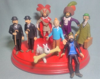 8 Figuren von Tim und Struppi von Hergé Gummi pvc.