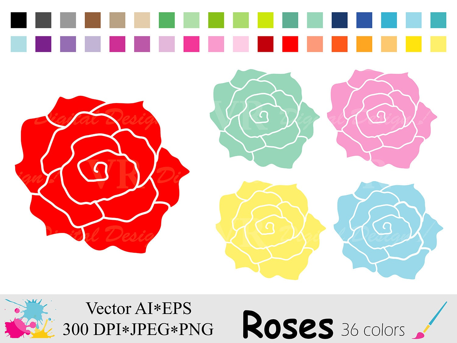 Roses Clip Art Rainbow Roses Clipart Planner Stickers
