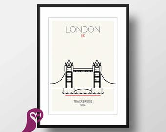 Tower Bridge Poster | London | UK | Buildings | Architectural Prints | Wall Art | Wall Decor | Home Decor | Office Decor | Digital Download