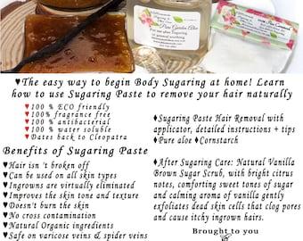 Sugaring Hair Removal Set with Vanilla Brown Sugar Scrub - thicker hair, Body Sugaring, natural sugaring, natural sugar scrub, vanilla scrub