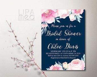 Floral Bridal Shower Invitation Printable Bridal Shower Invitation Peony Boho Bridal Shower Invitation Navy Pink Bridal shower invitation