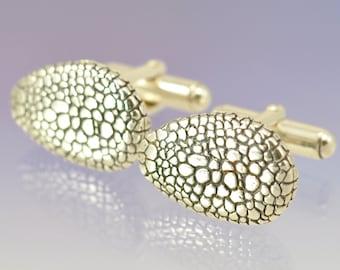 Snakeskin Texture Silver Cufflinks