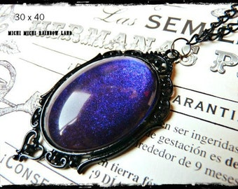 Purple Night Gothic Necklace - Black gift box included