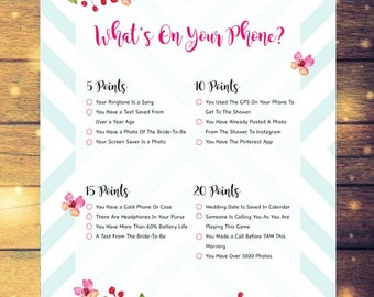 What's On Your Phone Bridal Shower and Wedding Games