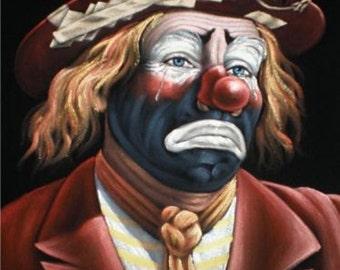Sad Clown black velvet original oil painting handpainted signed art 18 by 24 inches