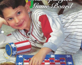 Star Spangled Game Board Plastic Canvas Pattern, Kid's Game, Patriotic Checker Game, The Needlecraft Shop