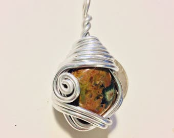 Rhyolite wire wrap, wire wrapped rhyolite, rhyolite necklace, rhyolite pendant, rhyolite jewelry, wire wrapped jewelry, wire wrapped stone