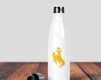 Wyoming Water Bottle, Wyoming Cowboy Water Bottle, Yellow Cowboys Water Bottle, Wyoming Pokes, Inspirational Quote, Stainless Water Bottle,