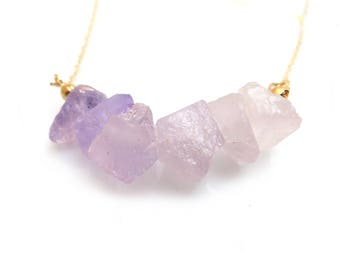 Amethyst Necklace, Raw Amethyst, February Birthstone Necklace, Amethyst and Gold, Bridal Necklace, Wedding Jewellery, Purple Necklace