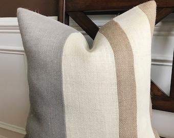Natural, Light Gray and Cream Three Tone Burlap Pillow Cover