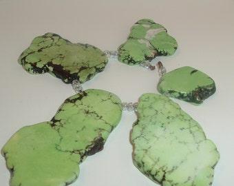 5 Green Magnesite Turquoise Beads