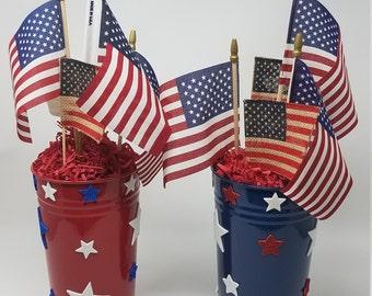 Patriotic arrangement, July 4th Centerpiece, Summer table arrangement, Flag and star arrangement, red white blue arrangement, memorial day