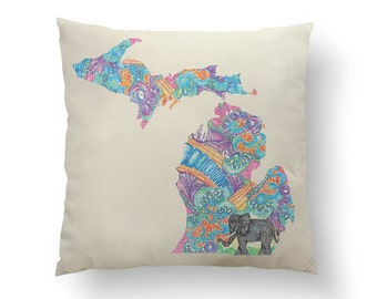 "16"" Colorful Michigan Elephant State Pillow w/ Insert, Throw Pillow, State Art, Michigan Gift, Housewarming Gift, Map Pillow, Throw Pillow"