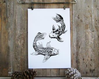 Pisces Printable, Koi Fish Poster, Koi Fish Art, Bedroom Decor, Pisces Art, Nautical Art, Koi Fish Print, Gift Under 10, Digital art