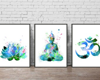 Buddha watercolor print buddha  buddha watercolor art ohm symbol Lotus art print buddha poster Blue Green Buddha Lotus wall decor