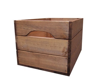 Large Rustic Farmhouse Wooden Crate Storage Box