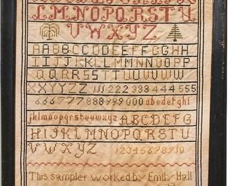 Primitive cross stitch, sampler chart/pattern,primitive needlework, schoolgirl sampler, early American , Emily Hall
