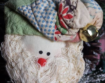 Stuffed santas, angel, vintage quilt, ornaments/ pins