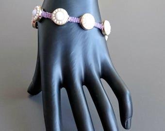 Purple Hemp Bracelet with White Crystal Medallions