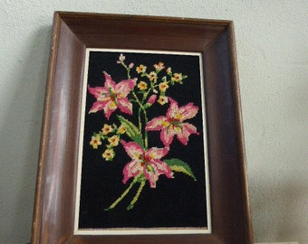 CANVAS lily bouquet, vintage 1960/1970, framed in a wooden frame