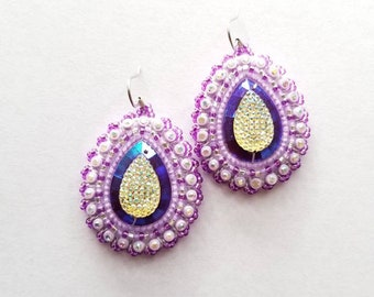 Purple & Lavender Raindrop Beaded Earrings