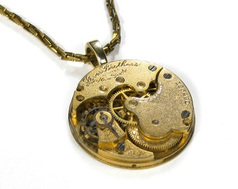 Steampunk Jewelry Necklace Vintage Gold Pocket Watch, Steam Punk Jewellery, Choker Style Anniversary Girlfriend Gift BEAUTY! - by edmdesigns