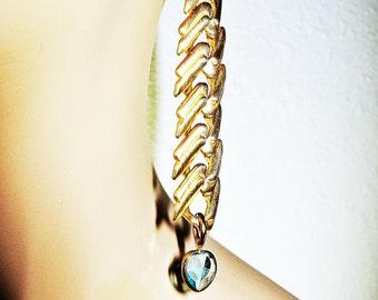 Chevron Earrings, Heart Earrings, Aqua Blue, Blue Hearts, Chain Earrings, Dangle Earrings, Brass Earrings, Long Earrings